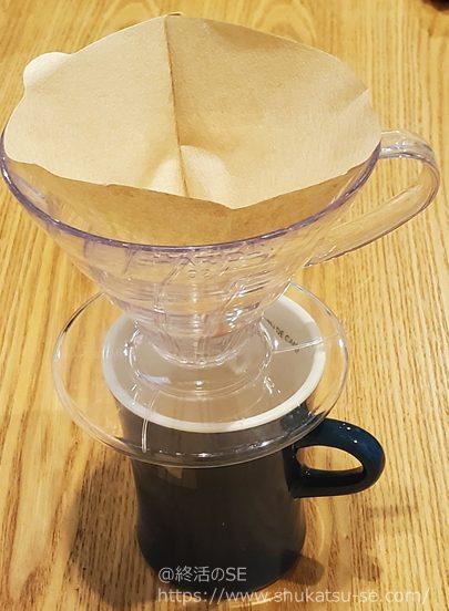 ドリッパーにドリップコーヒーフィルタを設定
