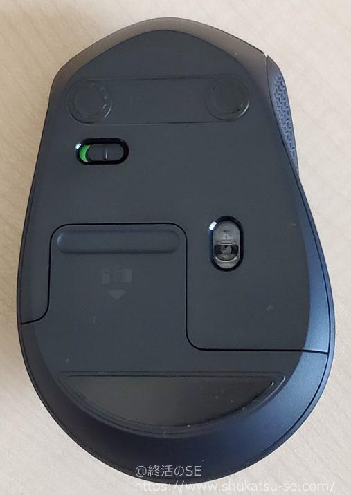ロジクール 静音マウス M331BK ワイヤレスマウス レビュー 裏面